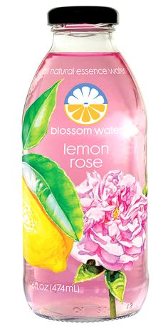 Blossom Water (Lemon Rose) — Pure water infused with real fruit & flower essences, lightly sweetened with only 45 calories per bottle.   Aromatic and uniquely flavorful – sophisticated refreshment!