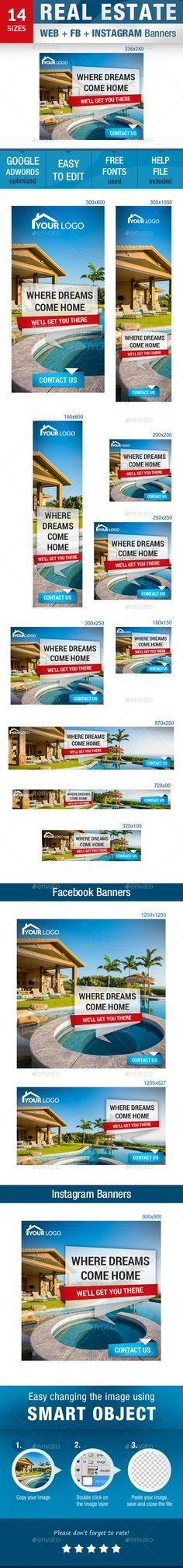 This Is A Set Of 14 Design Templates Prepared For Your Real Estate Advertising Campaign You Will Get 11 Standard Web Banner Size