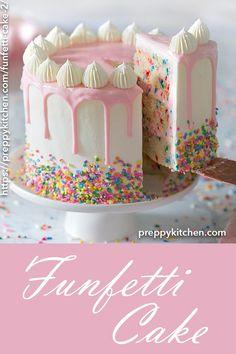 A moist vanilla cake filled with sprinkles, coated in silky Italian buttercream . - A moist vanilla cake filled with sprinkles, coated in silky Italian buttercream and topped with a wh - Funfetti Kuchen, Funfetti Cake, Bolo Laura, Italian Buttercream, Vanilla Buttercream, Vanilla Ganache, Crusting Buttercream, Moist Vanilla Cake, Strawberry Vanilla Cake