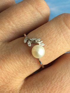 Adjustable Pearl Ring, Silver 925 Ring, Freshwater Pearl, Silver 925, Zircon,Open Ring, Silver 925 Jewelry, Bride gift, Luxurius Jewelry by ShinnyStella on Etsy Pearl Ring, Pearl Earrings, Open Ring, Bride Gifts, Pearl White, Fresh Water, Silver Rings, Engagement, Pearls