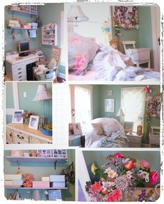 Creative space ~ pale greens, blue & white with shabby, cottage touches. Perfect home office & guest room.