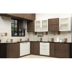 A modular kitchen with dual color combination made up of plywood with laminate finish.   The cabinets are fitted with glass door which adds extra look and makes the kitchen look rich enough.  This kind of great kitchen makes you an amazing cook. Each cabinet is measured and specially designed for you.  Other accessories like baskets will be charged extra.