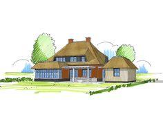 Schets villa met veranda