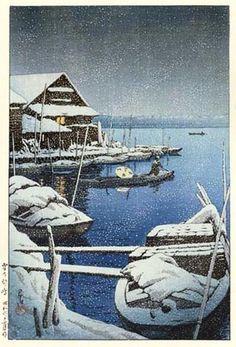 Snow at Mukojima  by Kawase Hasui, 1931  (published by Watanabe Shozaburo)