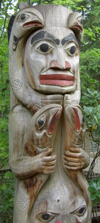 Totem pole location unknown but looks like Pacific Northwest