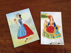 Vintage Embroidered Traditional Costume Postcards / Swiss  Costume Postcard / Greek Costume Postcard / Paper Ephemera / Postcard collectable