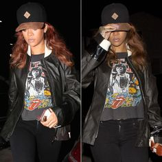 Rihanna wearing Puma cap, vintage Rolling Stones 78 US tour tee, Citizens of Humanity Avedon Slick skinny jeans, Ullu iPhone case, Opening Ceremony glitter coin purse, Mala by Patty Rodriguez Where you from? necklace