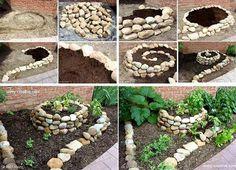 A Tiny Vegetable Garden Employing A Garden Spiral - http://www.decordecoration.com/interior-design/a-tiny-vegetable-garden-employing-a-garden-spiral.html