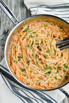 Linguine & Blushing Gorgonzola Cream Sauce