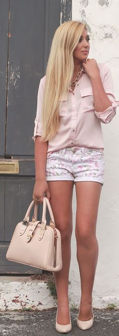 Pastel Pink Floral Shorts With Contrast Trim