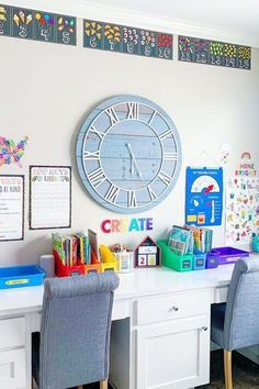 There are some items that every homeschool room should have. We share homeschool room ideas and must-haves.  Keep reading and learn 10 homeschool room ideas that will help your children thrive while learning at home. Hadley Court Interior Design Blog by Central Texas Interior Designer, Leslie Hendrix Wood. Home Learning, Learning Spaces, Garage Transformation, Mickey Mouse Crafts, Built In Hutch, Traditions To Start, Birthday Traditions, School Supplies Organization, How To Start Homeschooling
