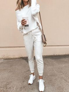 White One Shoulder Batwing Oversize Casual Ladies Off Shoulder Knit . - White One Shoulder Bat Sleeve Oversize Casual Ladies Off Shoulder Knit Sweater Fashion – Sweaters - Athleisure Outfits, Sporty Outfits, Mode Outfits, Fall Outfits, Fashion Outfits, Womens Fashion, Ladies Fashion, Fashion Ideas, Fashion Trends