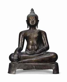 A FINE BRONZE FIGURE OF BUDDHA THAILAND, CHIENG SEN PERIOD, 16TH CENTURY Seated in sattvasana on pedestal, his right hand in bhumisparshamudra the left resting on his lap, wearing samghati leaving his right shoulder bare, his face with solemn expression, mother-of-pearl inlaid downcast eyes below arched eyebrows, pierced elongated earlobes, curled hair rising into the ushnisha surmounted by a lotus bud 33 in. (84 cm.) high