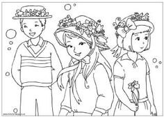 Easter bonnet parade colouring page, Easter colouring page