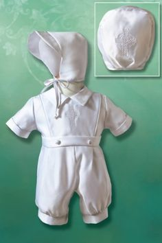 Boy's Matte Satin Christening Romper with Embroidered Celtic Cross, 3-6 Months, 10-14 lbs