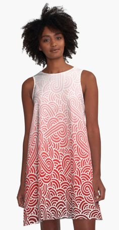 """Ombre red and white swirls doodles"" A-Line Dress by @savousepate on @redbubble #alinedress #dress #fashion #apparel #clothing #pattern #drawing #abstract #ombre #gradient #red #pink #blush #scarlet #crimson #fiesta #carmine #maroon #burgundy"