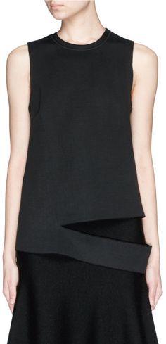 Proenza Schouler Slash Hem Crinkle Neoprene Vest in Black