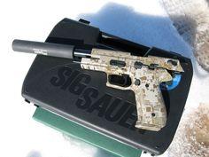 Sig Sauer pistol digicamo with suppressor Battle Rifle, Gun Art, Guns And Ammo, Weapons Guns, Fire Powers, Custom Guns, Sig Sauer, Revolver, 9mm Pistol