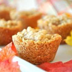 "Apple Crisp Cups | ""A yummy one-biter! Whenever I ask 'what can I bring?' these top the list! Sweet cinnamon-scented apples held in a buttery crispy oatmeal cup and crunchy sweet topping."""