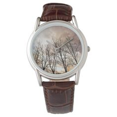 Forest in autumn with cloudy sky wristwatches