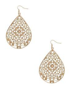 Gold Filgree teardrop earrings