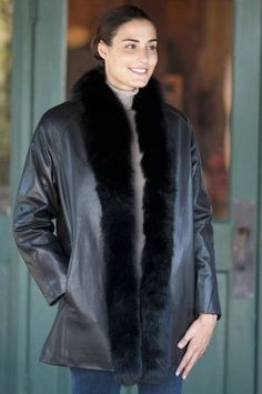 Women`s Johanna Leather Coat with Fox Fur Trim $895.00