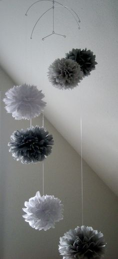 Sentimental Heart tissue paper pom mobile // nursery by PomLove, $40.00