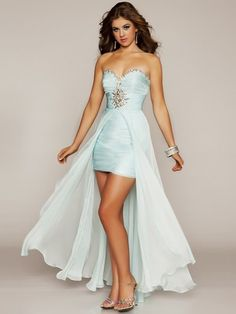 Shop Blue Wholesale Sweetheart Chiffon Beading Asymmetrical Prom Dresses in New Zealand