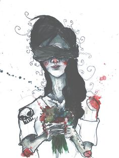 Creepy Watercolor Painting of a Blindfolded Girl Holding Flowers Funeral Illustration Abstract Wall Art Modern Home Decor