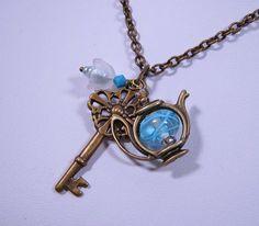 Teapot Necklace with Skeleton Key, Handmade Lampwork Glass in Brass (N-117). $38.00, via Etsy.