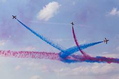 RAF Red Arrows in BAE Hawk T1 trainers Farnborough International Airshow Farnborough Airport Rushmoor Hampshire England  www.alamy.com/image-details-popup.asp?ARef=FC3241  #raf #red #team #jet #airplane #air #plane #display #aviation #airshow #force #hawk #arrows #flight #aerobatic #formation #sky #smoke #aircraft #royal #show #teamwork #military #flying #speed #fast #stunt #british #pilot #wing