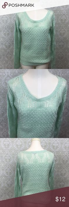 🍁CHARLOTTE RUSSE Mint Knit Light Sweater ~Get this sweet mint knit light sweater! ~Perfect for a girly lazy day! ~This is made with knit material.  Recommended to wear with a cami underneath. ~This has been worn several times.  This is previously loved condition! ~Get this now! ~NO TRADES Charlotte Russe Sweaters