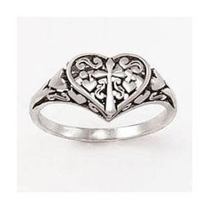 Sterling Silver Ladies' Cross Ring - Ornate Heart - Great Christian Rings for $55.00