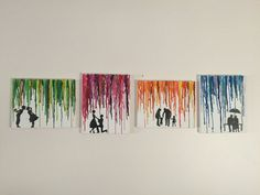 Journey of Love Melted Crayon Art Set of 4: Transition from Young Couple to Marriage to Family to Old Couple for Anniversary, VDay, etc.