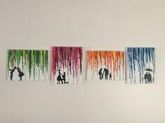 Journey of Love Melted Crayon Art Set of 4: von PigmentPanda