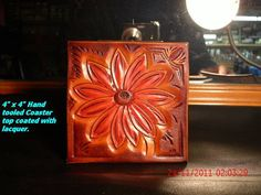 33% off now!   Was 20.00  Hand tooled leather coaster by AcrossLeather on Etsy, $14.00