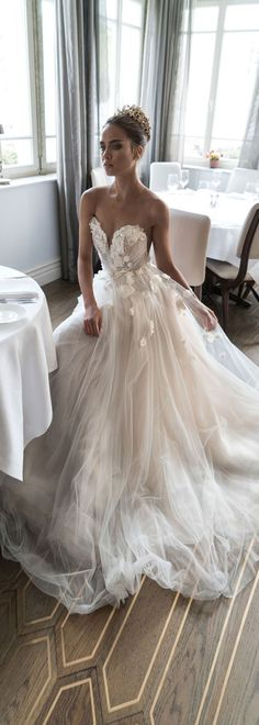 Romantic Tulle & Organza Sheer Jewel Neckline A-line Wedding Dress With 3D Flowers & Beadings