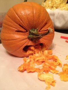 Throw-up pumpkin. Vomiting jack-o-lantern.