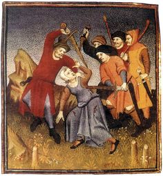 Medieval Robbers, 14th century. It looks like the person being robbed is a lady wearing a coif of the style usually associated with men..? Also a nice shirt with slits.