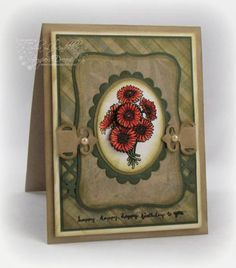 Gerbera Daisies ; Spellbinders Nest. Classic ovals ; Scalloped ovals ; Fancy tags ; MS border punch