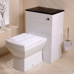 Tabor Back to Wall Toilet & Windsor Black Unit - Black And White Bathroom Ideas - Black And White Vanity Unit - Better Bathrooms Black White Bathrooms, White Rooms, White Walls, Sink Units, Vanity Units, Amazing Bathrooms, Better Bathrooms, White Vanity Unit, Back To Wall Toilets