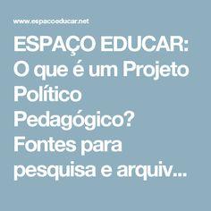 ESPAÇO EDUCAR: O que é um Projeto Político Pedagógico?  Fontes para pesquisa e arquivos sobre o tema.