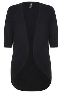 Black Longline Cocoon Hem Cardigan With 3/4 Sleeves Plus size 16,18,20,24,26,28,30,32