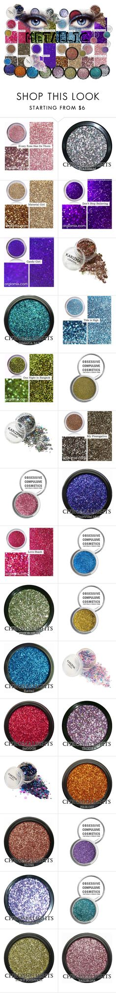 """""""Metallic Beauty"""" by lkriss ❤ liked on Polyvore featuring beauty, Material Girl, Obsessive Compulsive Cosmetics, Beauty, metallic and metallicmakeup"""