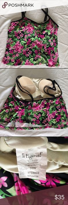 EUC pink, purple & green flower tankini swim top EUC pink, purple, green & black flower tankini swimsuit top. Plus size 20W from It Figures! Attached bra with soft molded cups. Great paired with the swim skirt available in another listing! Measurements available upon request. 🚫No holds 🚫No Lowball Offers 🚫No Trades ✅Please submit reasonable offers via the offer button or 🎁 bundle & save! It Figures! Swim Bikinis
