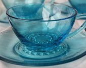 Aqua blue or turqouise cups and saucers set of 5