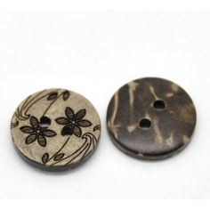 Pack of 20 15mm Flower Patterned Coconut Shell Buttons