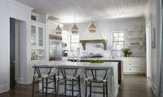 Kitchen Pendants - Design Chic - love the wood ceiling