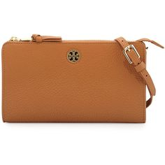 Tory Burch Robinson Pebbled Leather Crossbody Wallet ($225) ❤ liked on Polyvore featuring bags, wallets, brown, logo bags, zip top bag, brown crossbody, strap bag and tory burch bags