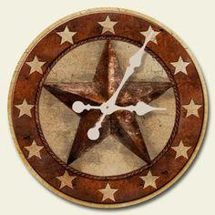 "Western Lodge Cabin Decor Barn Star 12"" Wood Wall Clock Battery Operated USA #WESTERN Western Wall Decor, Rustic Decor, Wall Art Decor, Western Theme, Primitive Decor, Country Decor, Texas Star Decor, Red Wall Clock, Wall Clocks"